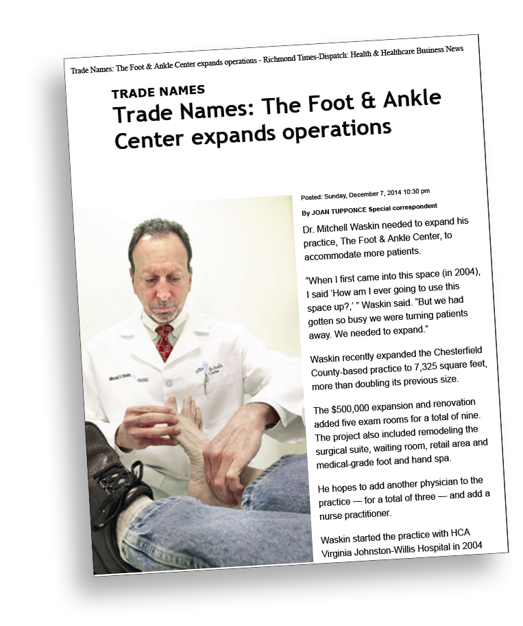 Richmond Times-Dispatch Article on The Foot & Ankle Center